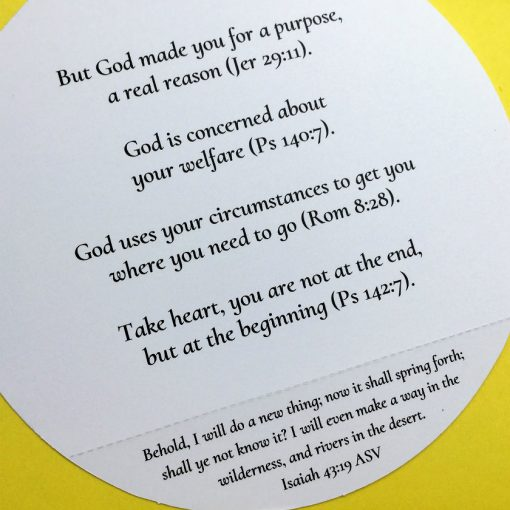 Christian encouragement card inside right view