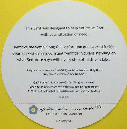 back cover of Christian encouragement card with bible verse about strength
