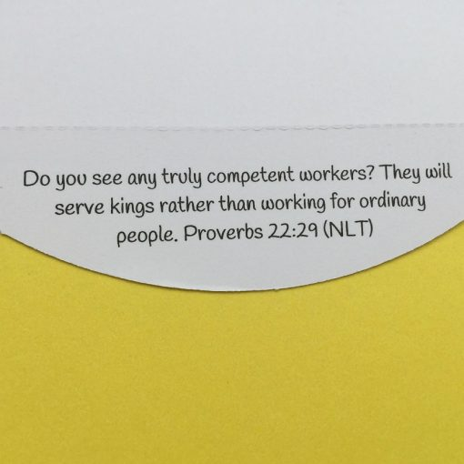 detachable Bible verse about work on Christian congratulations card