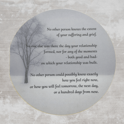 Christian sympathy card with encouraging bible verse about grief