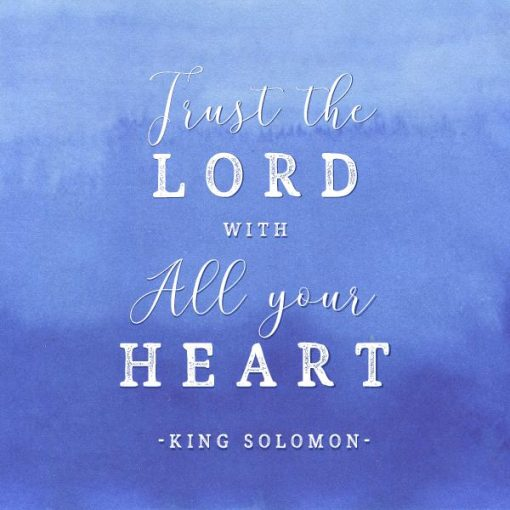 Bible verse word art trust the Lord quote on blue watercolor background